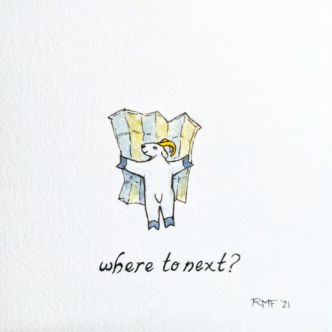 """where to next?"" watercolor and ink on paper, 5.5x5.5 inch doodle"