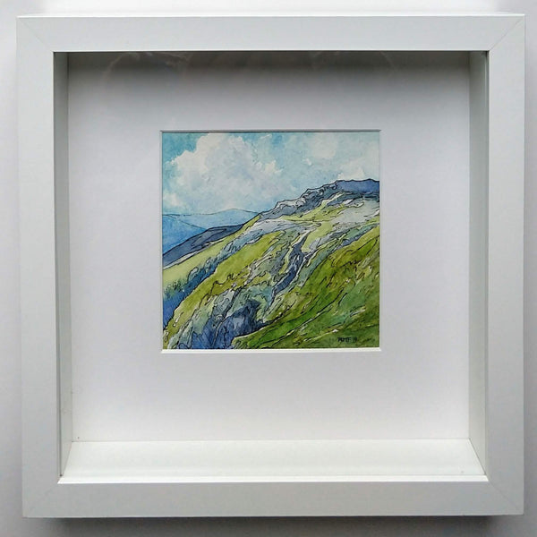 "This is a framed view of ""King Ravine,"" a 4.75 by 4.75 inch watercolor and ink painting on paper by Rebecca M. Fullerton. The painting is matted in white in a white 10 by 10 inch shadowbox frame."