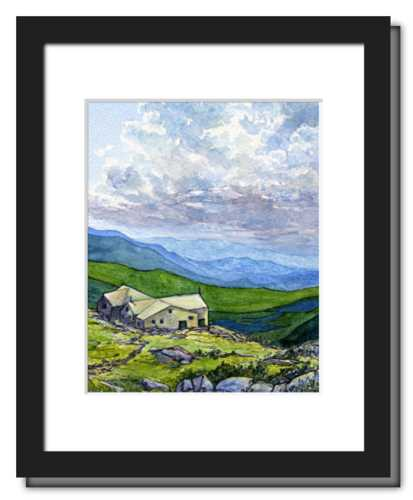 Appalachian Mountain Club Lakes of the Clouds Hut, White Mountain National Forest, White Mountains, New Hampshire. Fine art print of a watercolor painting. Gifts for hikers, backpackers, outdoor enthusiasts and hut fans.