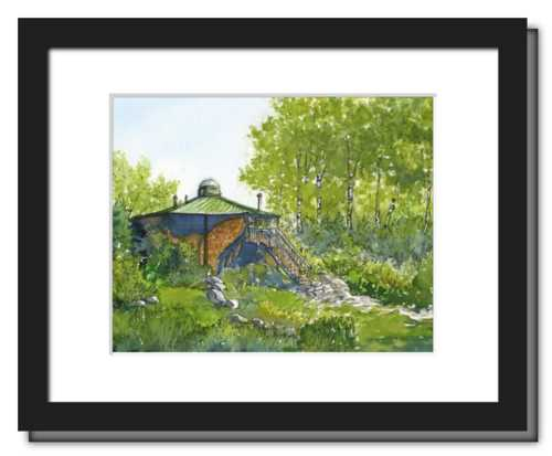 Appalachian Mountain Club Lonesome Lake Hut, White Mountain National Forest, White Mountains, New Hampshire. Fine art print of a watercolor painting. Gifts for hikers, backpackers, outdoor enthusiasts and hut fans.