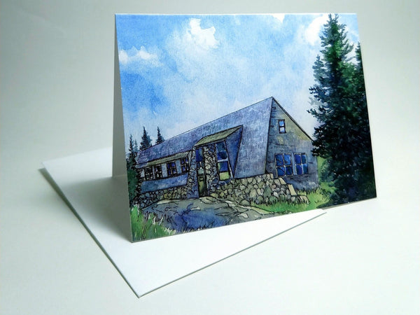 "All eight AMC White Mountain Huts as a set of greeting cards! Send a note reminiscing about your last great trip to New Hampshire's mountains. Set contains one of each card of the eight huts: Lonesome Lake, Greenleaf, Galehead, Zealand Falls, Mizpah Spring, Lakes of the Clouds, Madison Spring and Carter Notch Huts. All in dazzling color and ready to mail. Eight small 4""x5½"" greeting cads. High quality prints of original paintings by Rebecca M. Fullerton."