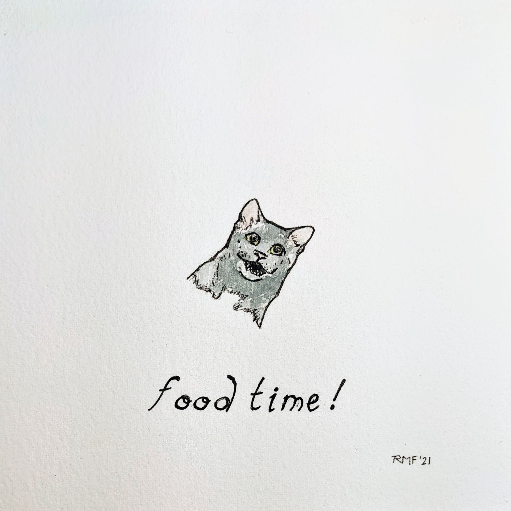 """food time"" watercolor and ink on paper, 5.5x5.5 inch doodle"