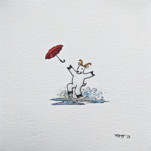 When I know there are dry socks waiting for me at home I still can't resist the urge to jump in the occasional puddle! Small ink and watercolor illustration of a mountain goat throwing an umbrella in the air and jumping in a puddle.
