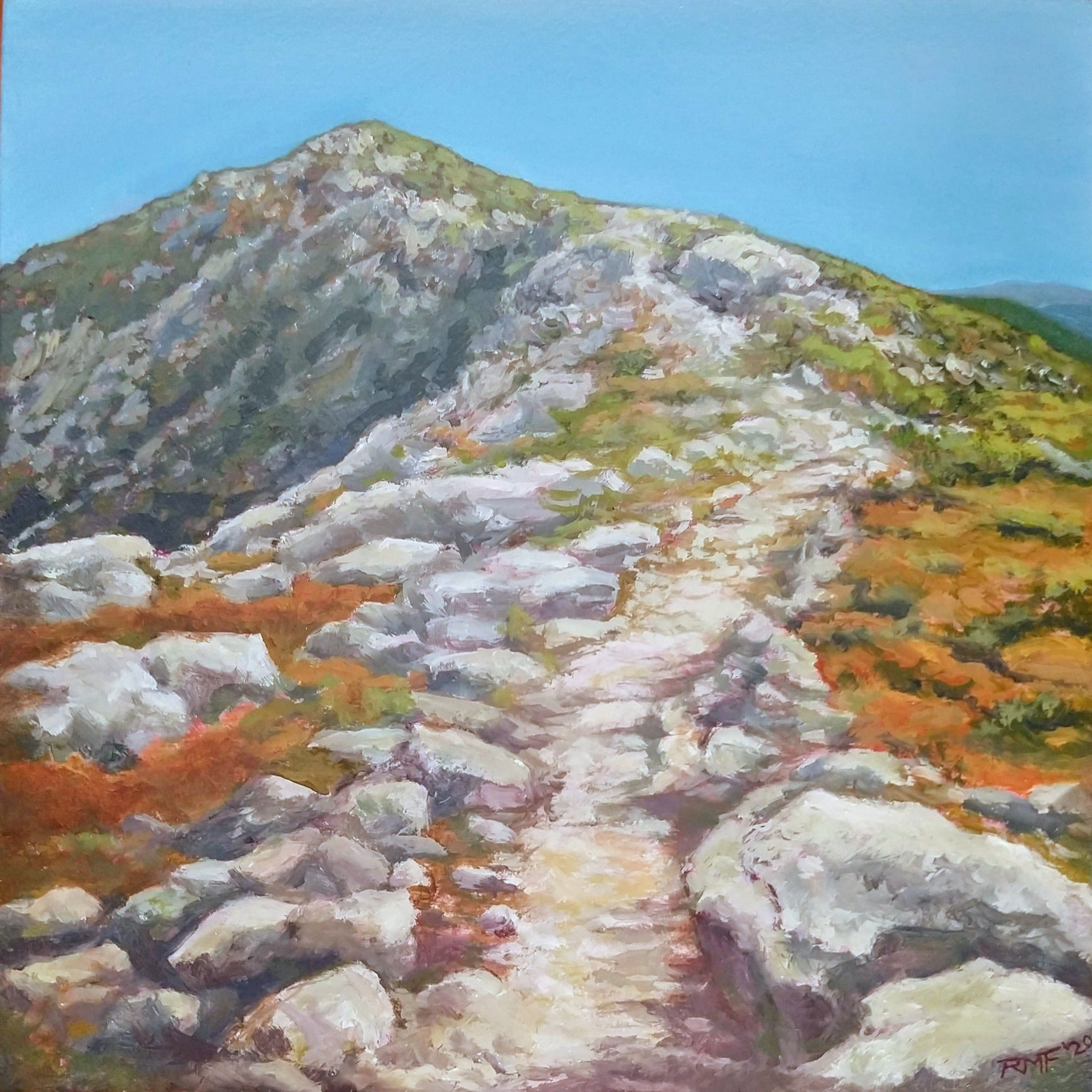 """Franconia Ridge Trail"" is a 10 by 10 inch oil on panel painting by Rebecca M. Fullerton, depicting a winding trail leading along the Franconia Ridge, with Mount Lafayette in the background. From my series of White Mountain National Forest landscapes here in New Hampshire."