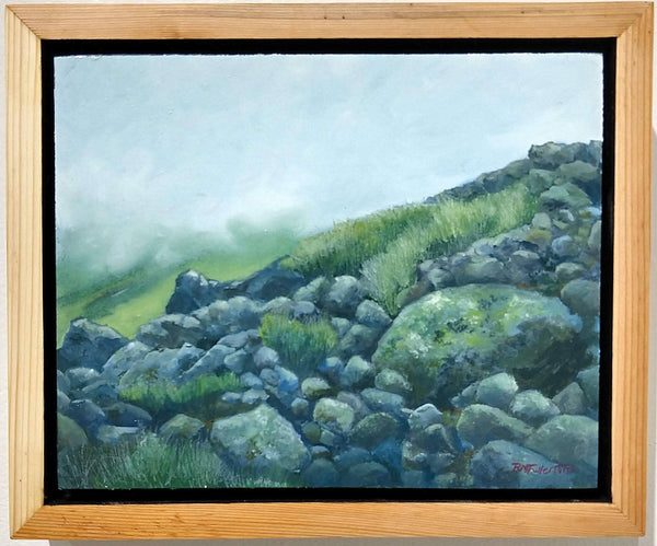 "This is a framed view of ""Mist and Rocks,"" and 8 by 10 inch oil on panel painting by Rebecca M. Fullerton, depicting rocks, grasses, fog and clouds along New Hampshire's Presidential Range. The frame is a handmade pine float frame, with black detailing along the inner edges, making the painting look like it is 'floating' in the frame. The frame is 2.5 inches deep, so the painting stands out from the wall."