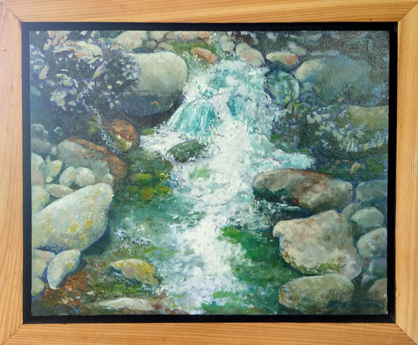 "This is a framed view of ""Rocky Stream,"" an 8 by 10 inch oil on panel landscape painting of water sparkling and falling over river rocks in a stream in the White Mountain National Forest of New Hampshire. It is in a handmade softwood float frame."