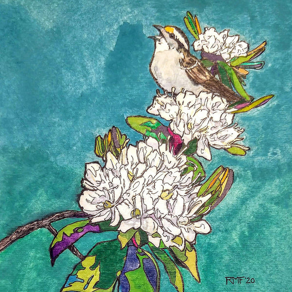 """White-throated Sparrow on Labrador Tea,"" framed 4.25x4.25 inch watercolor and ink painting on paper, by Rebecca M. Fullerton. White Mountains landscape paintings."