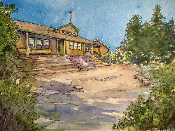 """Zealand Falls Hut, White Mountains, NH,"" original watercolor and ink painting on paper, by artist Rebecca M. Fullerton"