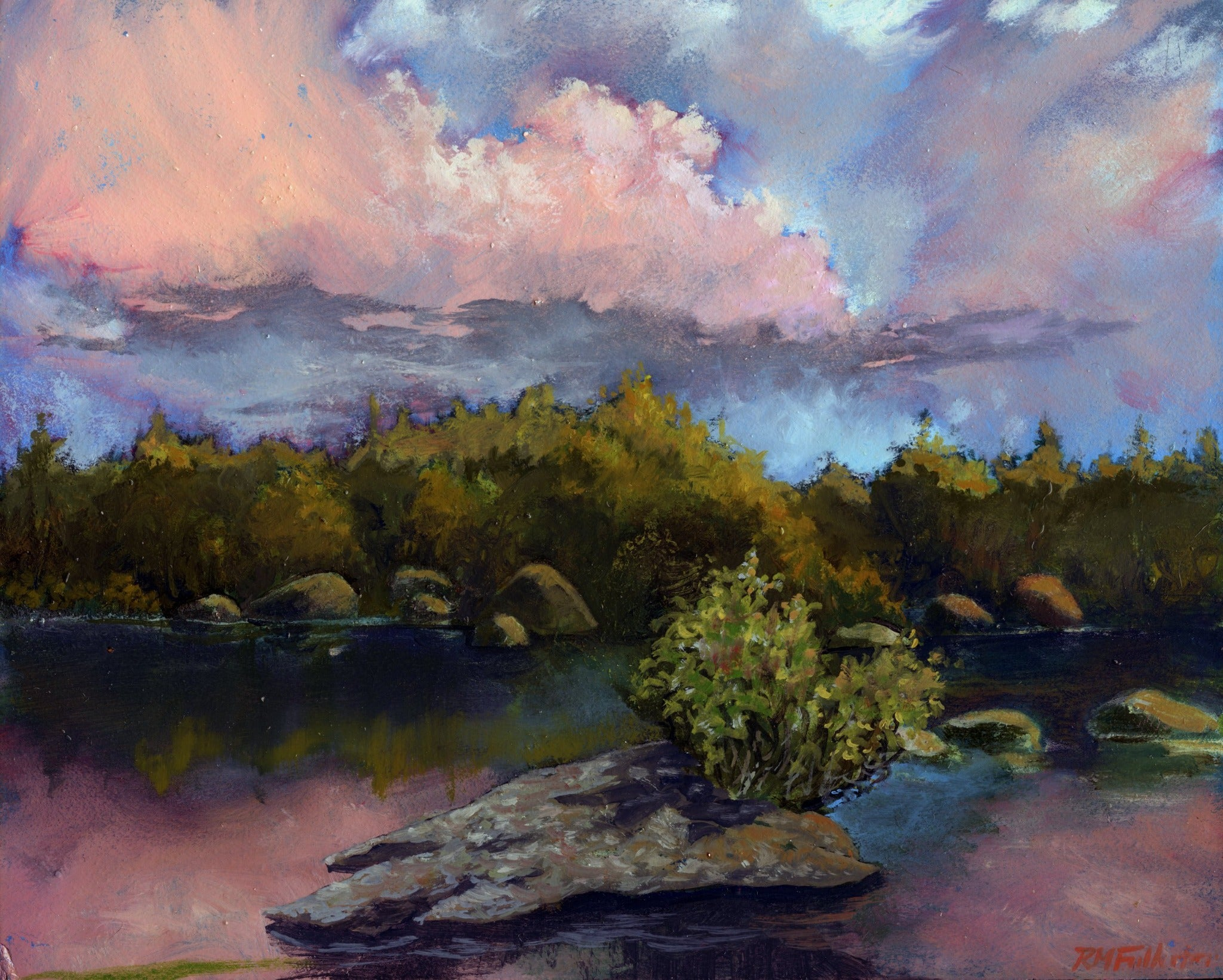 """Ethan Pond Sunset"" is a framed 8 by 10 inch oil painting on panel, depicting a mountain pond with trees along its edge and rocks in the water. Pink sunset clouds are reflected in the water. Ethan Pond is in the White Mountain National Forest in New Hampshire."