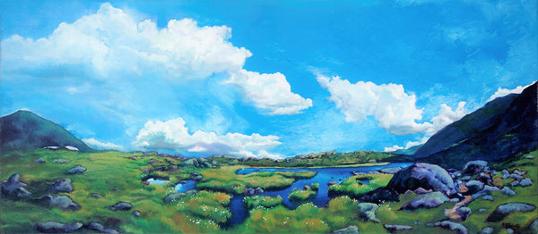 """Cloudsweep"" original 20 x 45 inch oil on canvas landscape painting (SOLD)"