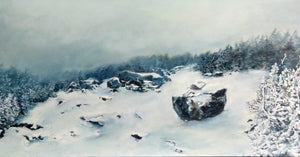 """Cold Krummholz"" is an 11.75 by 23.5 inch oil on wood panel painting by Rebecca M. Fullerton, depicting the socked-in summit of North Twin Mountain in New Hampshire's White Mountains. The ground, trees and rocks are coated in snow and rime ice in this chilling winter scene."