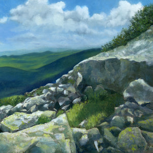 """A Sheltering Place"" is a 10 by 10 inch oil on panel painting by Rebecca M. Fullerton, depicting a little grassy spot among the rocks on a mountain slope. Sunlight slants across the rocks and makes the spot look warm and inviting. Mountains and clouds fill the background."