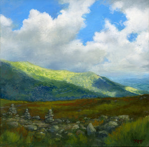 """Across the Ravine"" is an 8 by 8 inch oil on panel painting by Rebecca M. Fullerton, depicting the view across Tuckerman Ravine on Mount Washington, New Hampshire, with a sunlit mountain slope and cloud shadows in the distance."