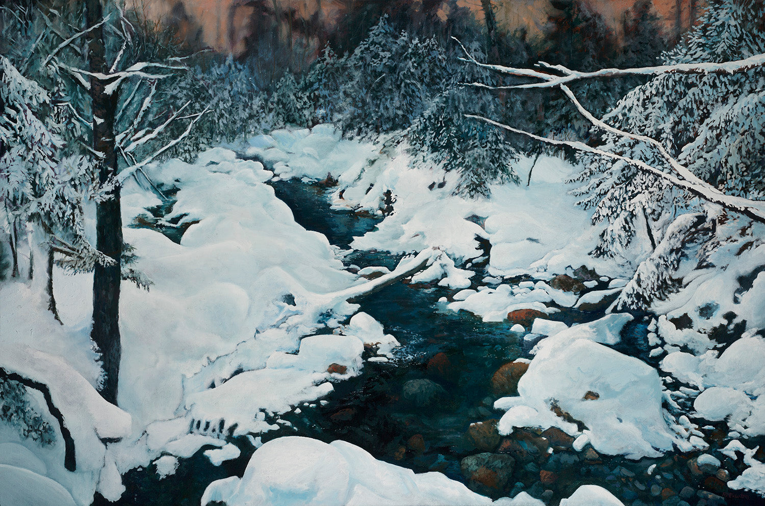 """Crawford Brook in Winter"" is a 30 by 45 inch oil on canvas painting by Rebecca M. Fullerton, depicting deep winter woods with the dark waters of a partially-frozen stream running through them. Bright white snow covers the many shoreline rocks and boulders and traces each tree branch."