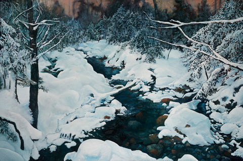"""Crawford Brook in Winter,"" 30x45 inch oil on canvas painting"