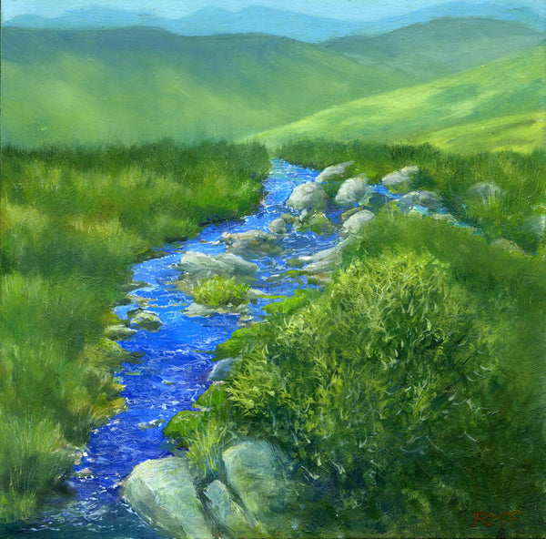 """Groundwater Seep"" is an 8 by 8 inch oil on panel painting by Rebecca M. Fullerton, depicting the waters of a mountain spring running off over the edge of a slope among green grasses and shrubs."