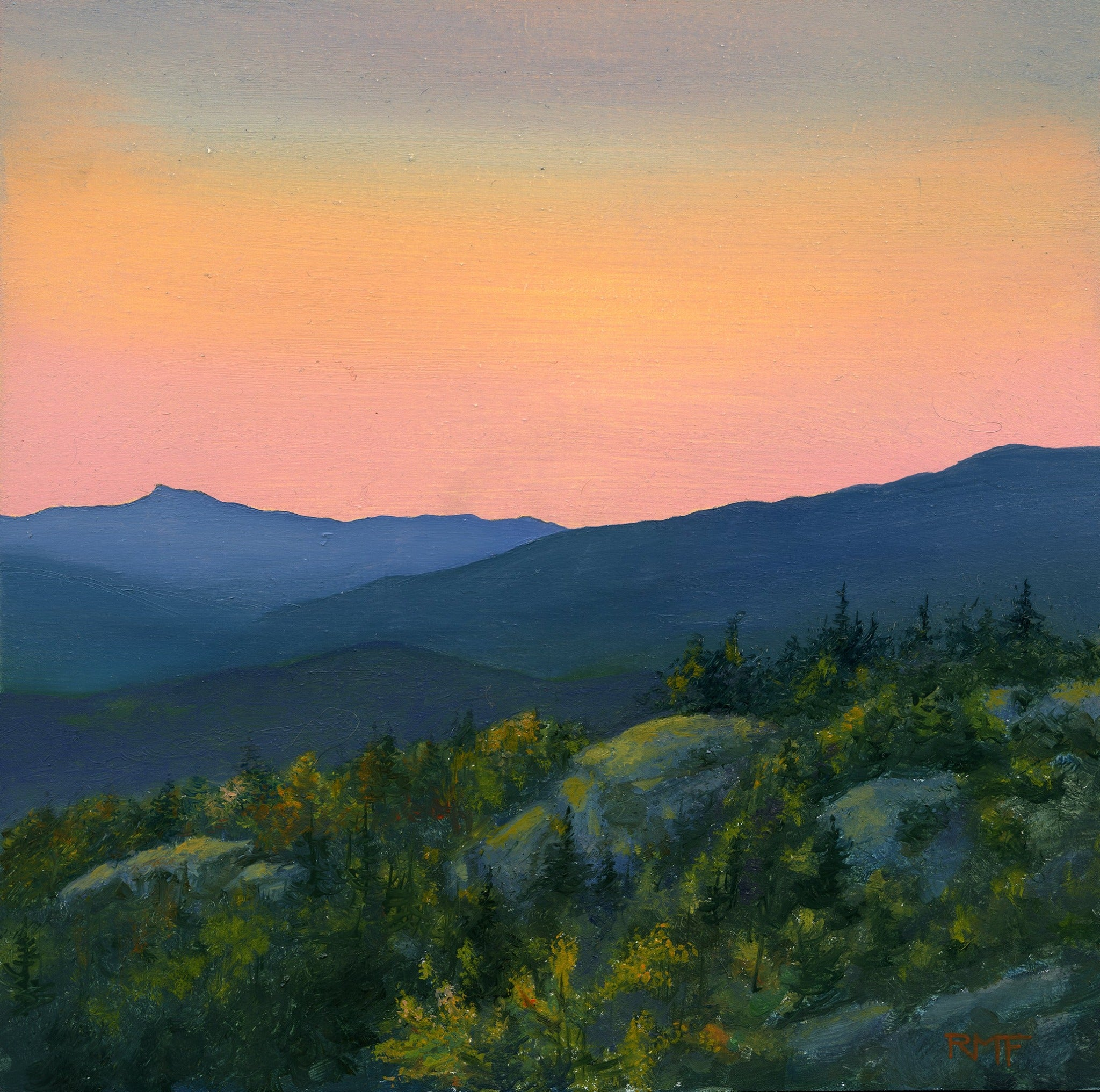 """Hunger Mountain Sunset"" is an 8 by 8 inch oil on panel painting by Rebecca M. Fullerton, depicting the view from Mount Hunger, Vermont, looking toward the distinctive profile of Camel's Hump in the mellow light of dusk."