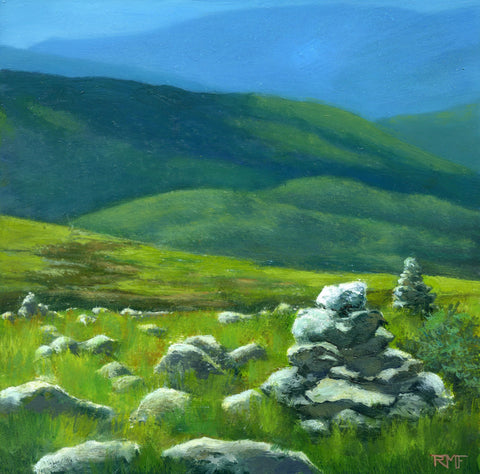 """Isolation Trail"" is an 8 by 8 inch oil on panel painting by Rebecca M. Fullerton, depicting the view above treeline on Mount Washington, New Hampshire, down the Isolation Trail and into the wilderness and rows of green and blue mountains beyond."