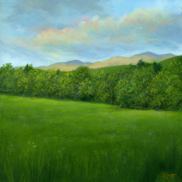 """Mid Acre Meadow"" is an 8 by 8 inch oil on panel painting by Rebecca M. Fullerton, depicting a green meadow with trees along its edge. Beyond are mountain peaks bathed in the glow of sunset. Pinkish and yellow clouds float above."