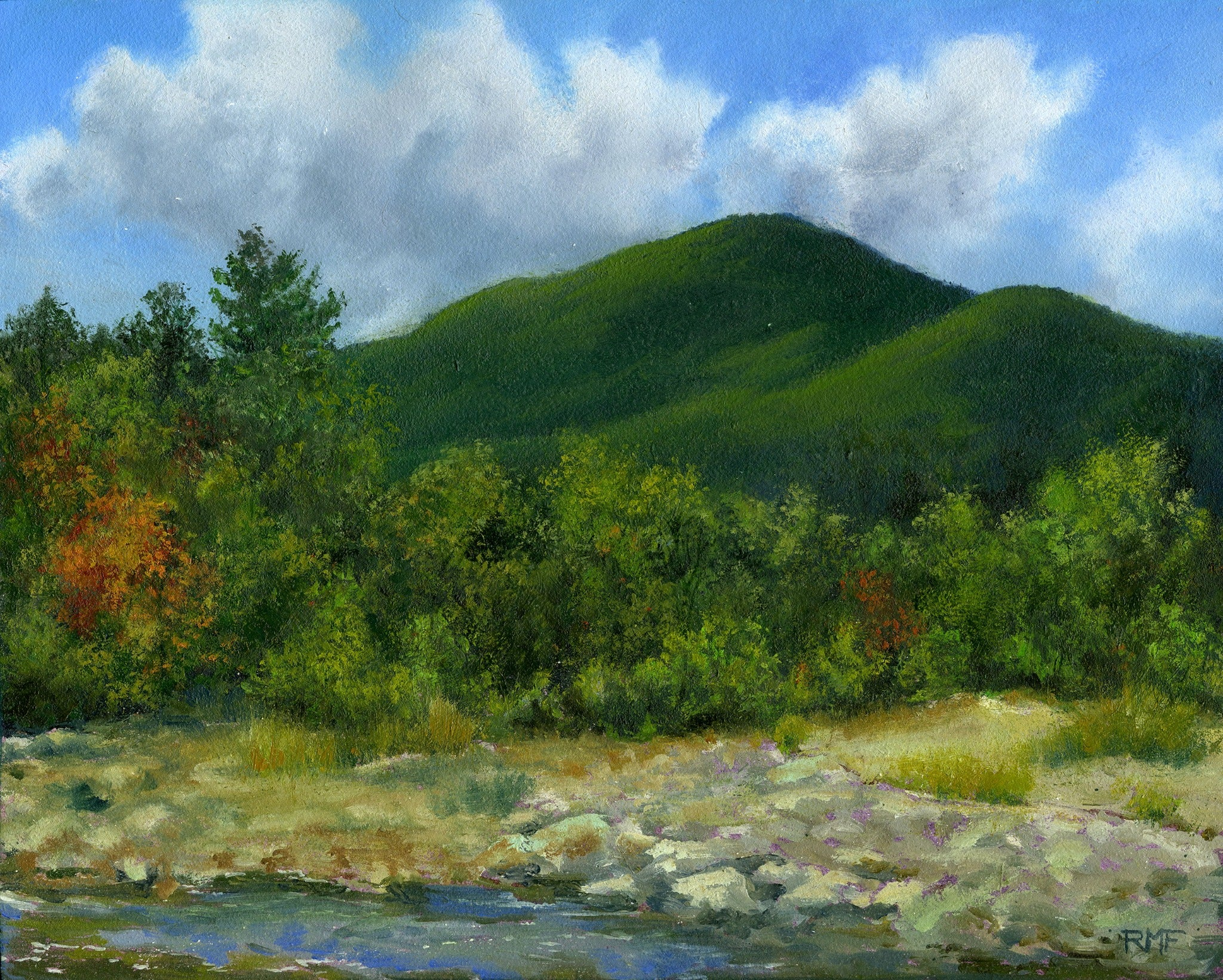 """Mount Hale"" is an 8 by 10 inch oil on panel painting by Rebecca M. Fullerton, depicting the mountain rising over the Zealand River Valley on a summer day, with trees, river rocks and water in the foreground."