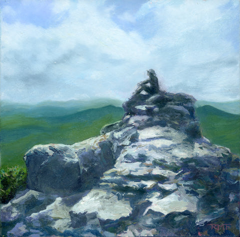 """Outcrop II"" is an18 by 8 inch oil on panel painting by Rebecca M. Fullerton. It depicts a craggy rock outcrop along the Franconia Ridge Trail between Mount Lincoln and Mount Lafayette above Franconia Notch in New Hampshire's White Mountains. A lone hiker sits on top, looking out at the view."