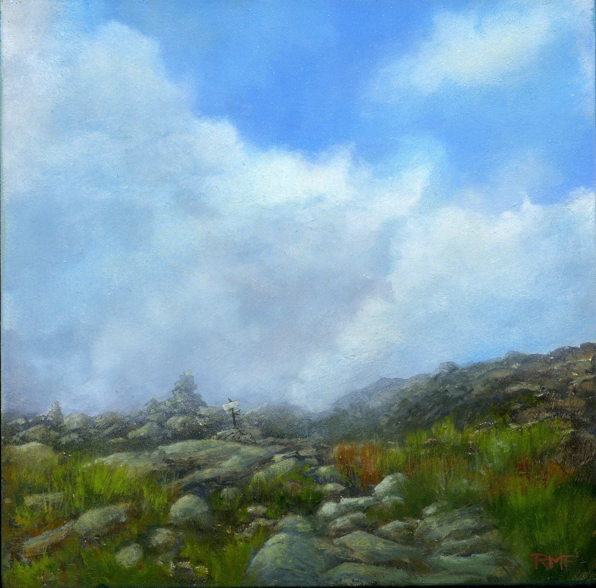 """The Trail Ahead"" is an 8 by 8 inch oil on panel painting by Rebecca M. Fullerton, depicting a rocky mountain trail with a bank of fog on the crest of the hill ahead. A rock cairn and trail sign mark the way as the sun burns off the early morning clouds obscuring the path."