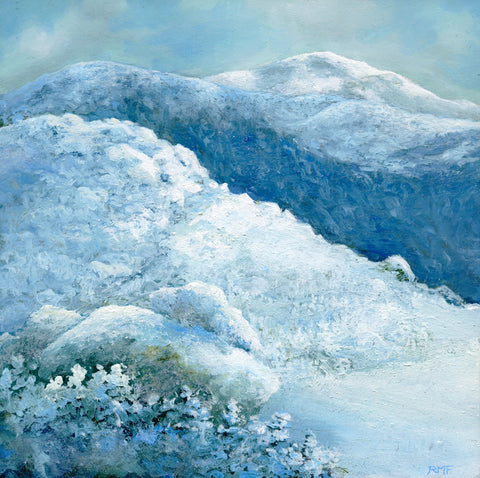 """Along the Northern Slopes"" is an 8 by 8 inch framed oil on panel painting by Rebecca M. Fullerton, depicting the snowy view across the flanks of Mount Adams toward the summit of Mount Jefferson along New Hampshire's Presidential Range in the depths of winter."