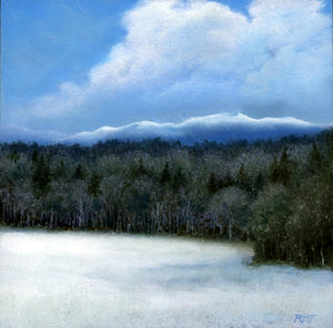 """Mid Acre Meadow"" is a framed 8 by 8 inch oil on panel painting by Rebecca M. Fullerton, depicting a snowy meadow with trees along its edge. Beyond are frosty mountain peaks. Soft white clouds float above."