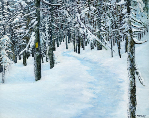 """The Yellow Blaze"" is a 16 by 20 inch framed oil on canvas painting by Rebecca M. Fullerton, depicting a snowy trail through evergreen trees in winter. A single yellow trail blaze marks the way. From a scene in the White Mountain National Forest of New Hampshire."