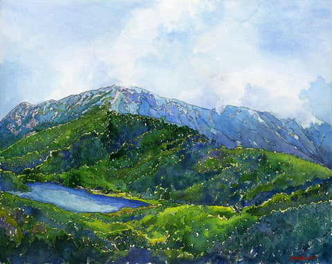 "Original painting: ""Mount Lafayette,"" watercolor on paper, 16x20"" painting in a 22x26"" archival grey-on-white double mat, black metal frame, plus glass."