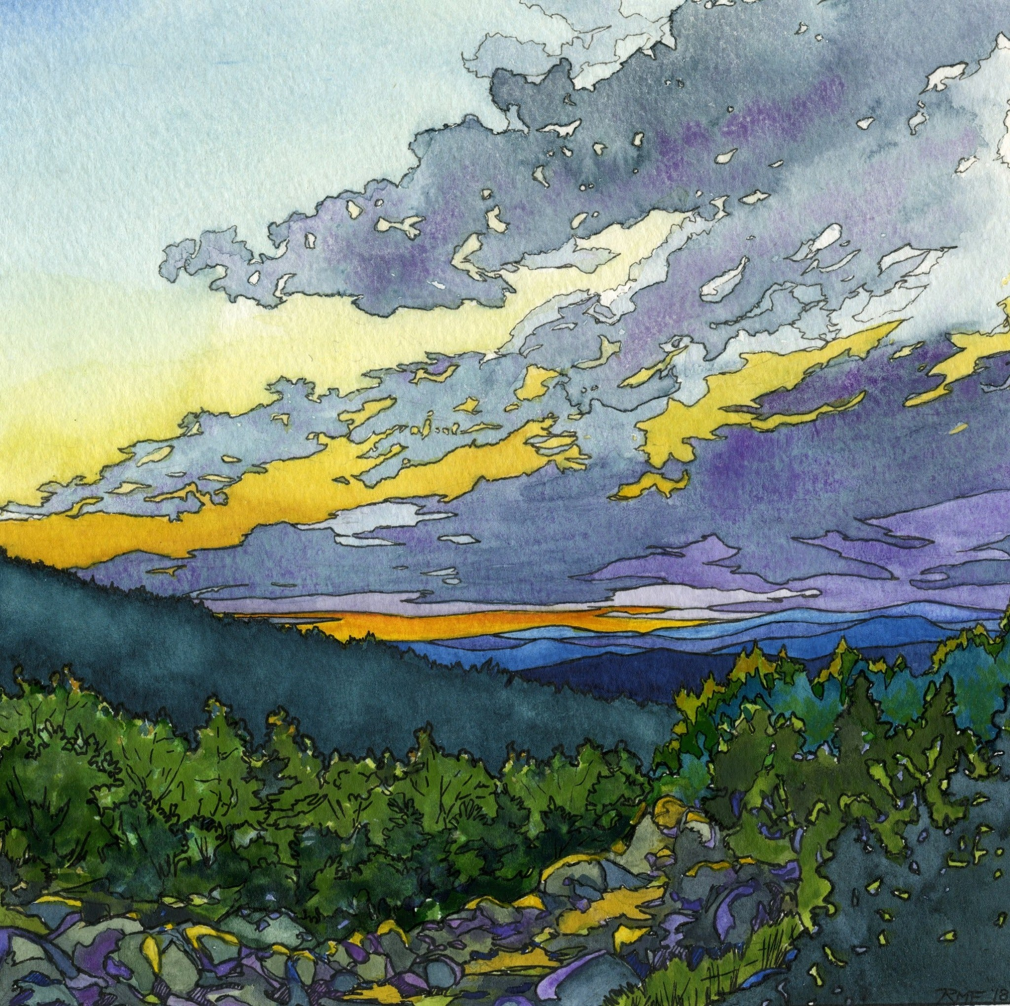 """Northern Sunset"" is a 10 by 10 inch square fine art print on paper,based on an original watercolor and ink painting by Rebecca M. Fullerton. It depicts glowing yellow and orange sunset colors among purple clouds, as seen from a mountainside."