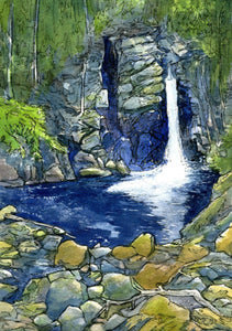 """Kinsman Falls,"" framed 5x8 inch watercolor and ink painting on paper"