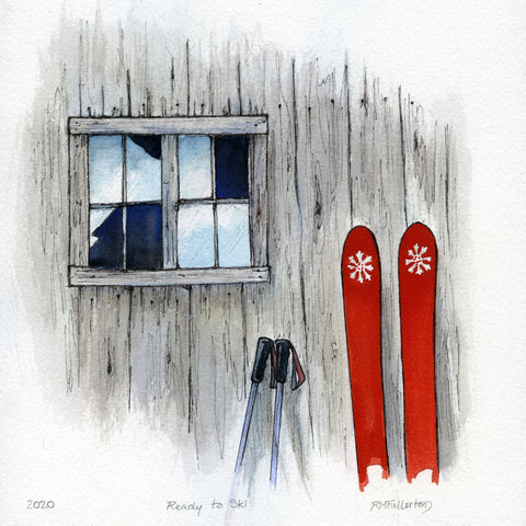 """Ready to Ski"" is a 9.5 by 9.5 inch watercolor and ink painting on paper by Rebecca M. Fullerton, depicting skis and ski poles propped up against the faded wood of an old barn, beside a window in bits of missing glass."