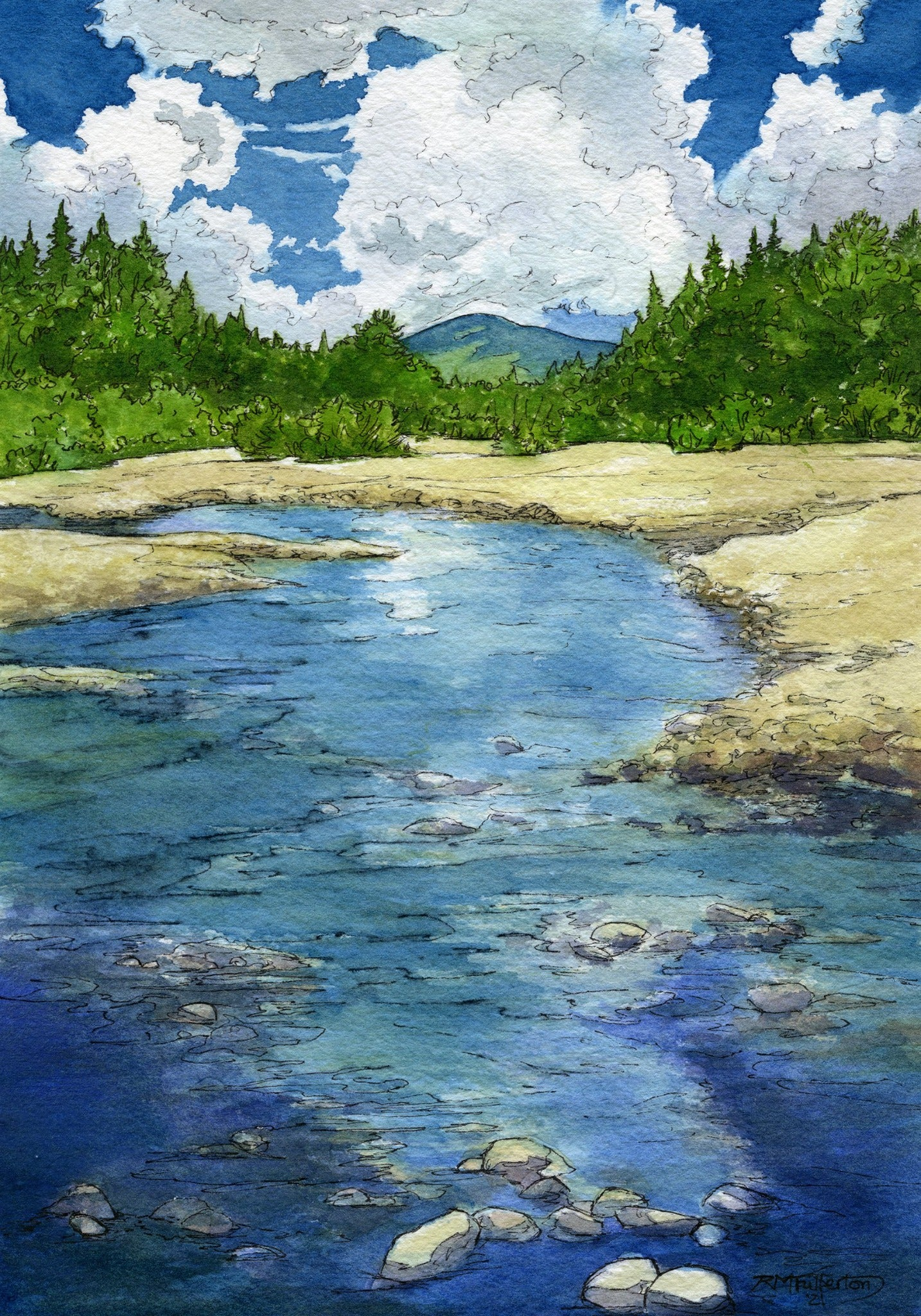 """Zealand River Valley"" is a 6 by 9 inch watercolor and ink painting on paper, depicting the Zealand River as it flows north, with Mount Hale in the background, all in the magnificent White Mountain National Forest of New Hampshire."