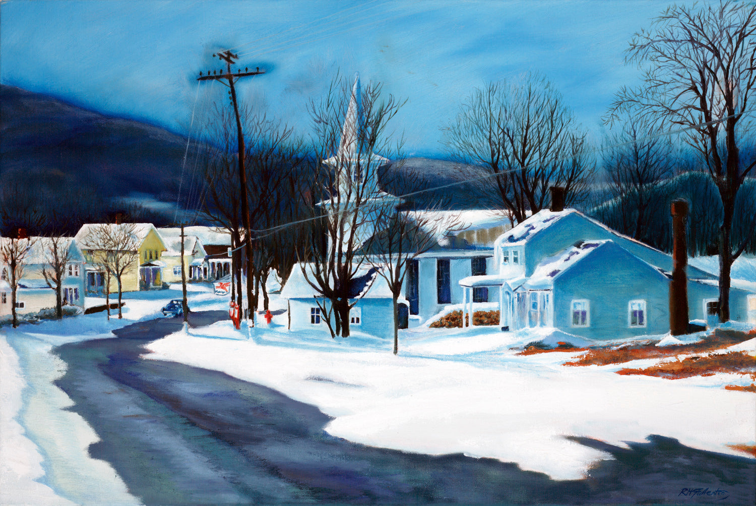 """January Thaw"" is a 20 by 30 inch oil on canvas painting by Rebecca M. Fullerton, depicting a classic northeastern village in winter. A road runs down into the town where clapboard houses flank a white church with its steeple. Signs of a warm spell are evident as patches of bare ground show up and the paved road is melting out."