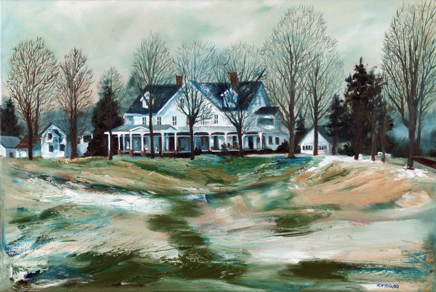 """Early Snow"" is a 20 by 30 inch oil on canvas painting by Rebecca M. Fullerton, depicting a stately country inn on a field dusted with the first snow of the season. The detailed facade of the inn is flanked by delicate, bare trees, while the foreground grasses are done in abstract style using a pallet knife."