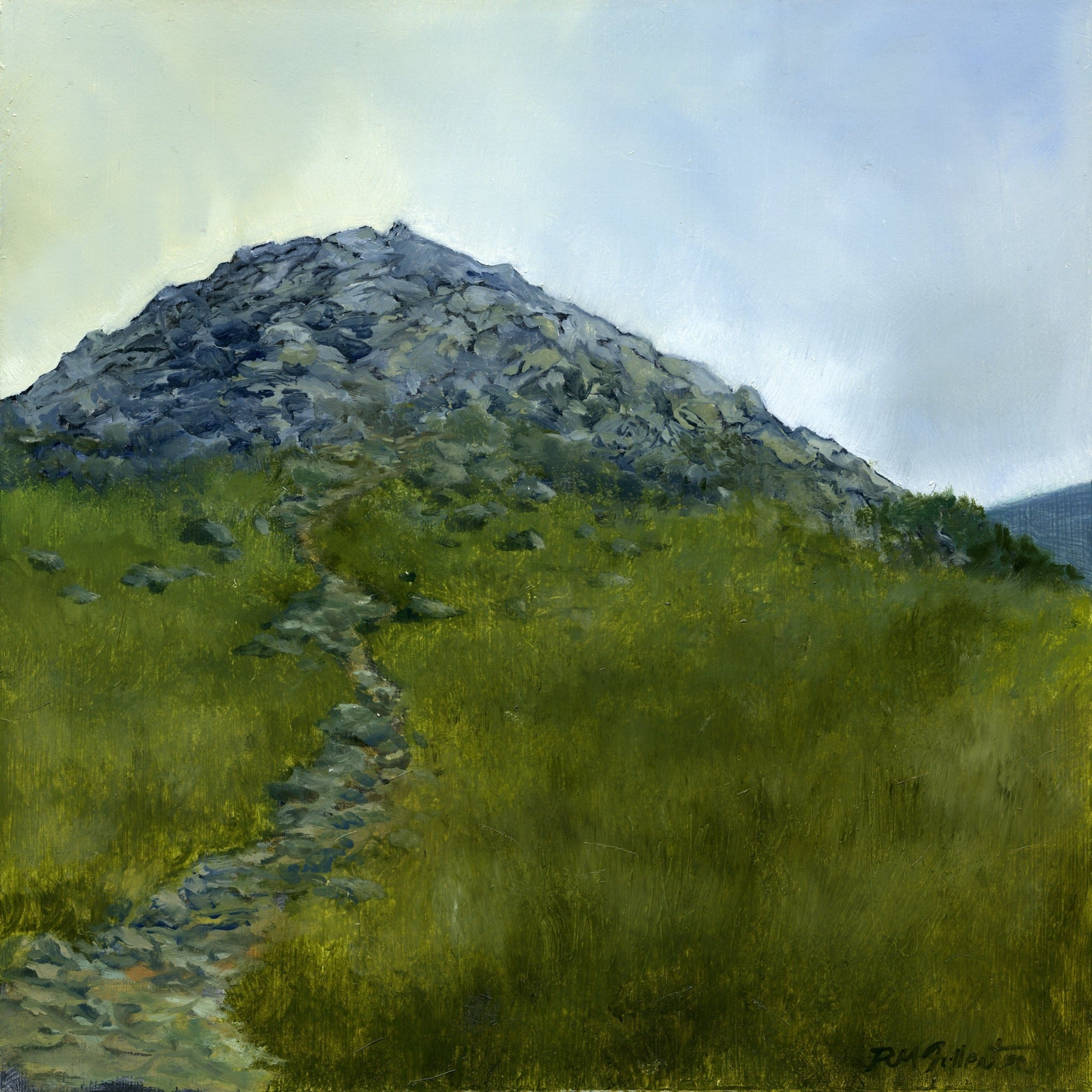 """False Summit"" is a 10 by 10 inch oil on panel landscape painting by Rebecca M Fullerton, depicting a rocky promontory surrounded by sedge and alpine plants along the Presidential Range of the White Mountain National Forest in New Hampshire."