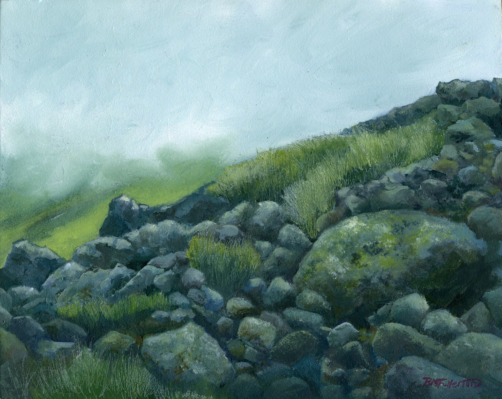 """Mist and Rocks"" is an 8 by 10 inch oil on panel painting by Rebecca M. Fullerton,  depicting boulders and grasses in the alpine zone of the Presidential Range in the White Mountain National Forest of New Hampshire. Low clouds and mist skim over the slopes and the soft greys and greens make the scene feel somber and spooky, just like a day on the range when it's socked in."
