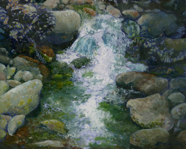 """Rocky Stream"" is an 8 by 10 inch oil on panel landscape painting of water sparkling and falling over river rocks in a stream in the White Mountain National Forest of New Hampshire."