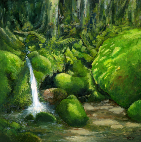 """Deep in Mossy Woods"" is a 10 by 10 inch oil painting on panel by Rebecca M. Fullerton, depicting a tiny waterfall cascading through sun-dappled bright, emerald green moss growing over boulders and roots in the forest."