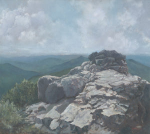 """Outcrop"" is an 18 by 20 inch oil on canvas painting by Rebecca M. Fullerton. It depicts a craggy rock outcrop along the Franconia Ridge Trail between Mount Lincoln and Mount Lafayette above Franconia Notch in New Hampshire's White Mountains. Hazy mountains and clouds fill out the background."