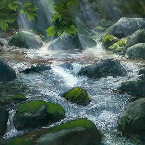 """Stream After Rain"" is a 10 by 10 inch oil on panel painting by Rebecca M. Fullerton, depicting a sparkling mountain stream awash in sunbeams after an afternoon rain shower. The water flows and cascades around moss covered rocks while green leaves hang down from above."