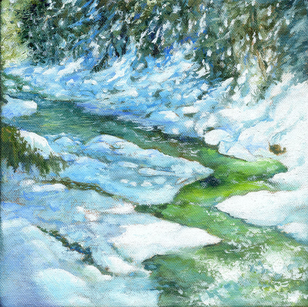 """Winter Green"" is an 8 by 8 inch oil on gallery-wrapped canvas painting by Rebecca M. Fullerton, depicting the green, ice-filled waters of a mountain stream with snowy banks and evergreens all around it."