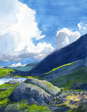 """Alpine Light,"" 16 by 20 inch original watercolor and ink painting on paper, framed and ready to hang. A scene at Star Lake, Mount Adams, Presidential Range, White Mountain National Forest, New Hampshire by Rebecca M. Fullerton, artist."