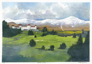"""Bretton Woods"" is a 12.5 by 8.5 inch watercolor and ink on paper painting by Rebecca M. Fullerton, depicting the famous Mount Washington Hotel among green fields and early fall hills with the snow-capped Presidential Range behind it. Found in the White Mountains of New Hampshire."