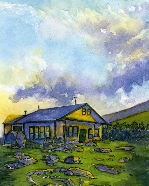 Appalachian Mountain Club Galehead Hut, White Mountain National Forest, White Mountains, New Hampshire. Fine art print of a watercolor painting. Gifts for hikers, backpackers, outdoor enthusiasts and huts fans.