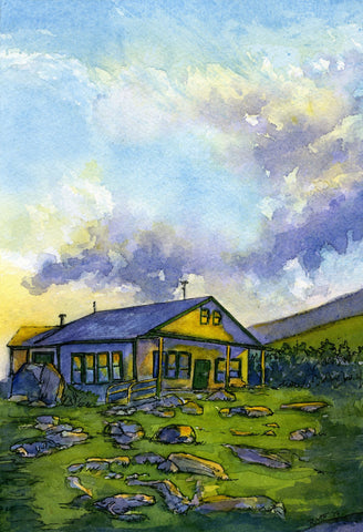 """Galehead Hut, White Mountains, NH,"" original 9x6 inch watercolor and ink painting on paper, by artist Rebecca M. Fullerton."