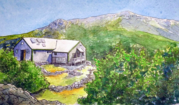 """Greenleaf Hut, White Mountains, NH,"" framed 9.3x5.3 inch watercolor and ink painting on paper (SOLD)"