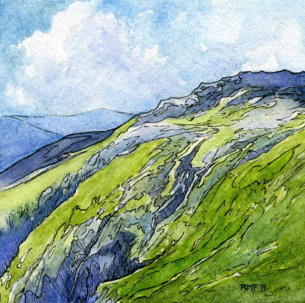 """King Ravine"" is a 4.75 by 4.75 inch watercolor and ink painting on paper by Rebecca M. Fullerton, depicting the crags and ledges of King Ravine on the northern edge of the Presidential Range in New Hampshire's White Mountains."