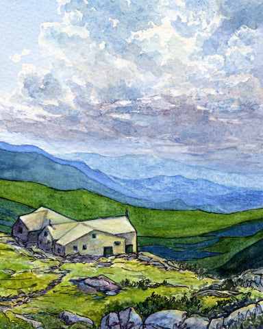 AMC Lakes of the Clouds Hut, Mount Washington, Presidential Range, White Mountain National Forest, New Hampshire watercolor and ink painting on paper by Artist Rebecca M. Fullerton, 2019
